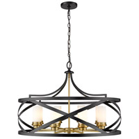Z-Lite 481P30-MB-OBR Malcalester 8 Light 30 inch Matte Black and Olde Brass Pendant Ceiling Light