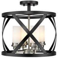 Z-Lite 481SF15-MB-BN Malcalester 4 Light 15 inch Matte Black and Brushed Nickel Semi Flush Mount Ceiling Light