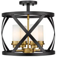 Z-Lite 481SF15-MB-OBR Malcalester 4 Light 15 inch Matte Black and Olde Brass Semi Flush Mount Ceiling Light