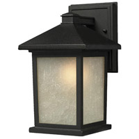 Z-Lite 507B-BK Holbrook 1 Light 16 inch Black Outdoor Wall Sconce in White Seeded Glass photo thumbnail