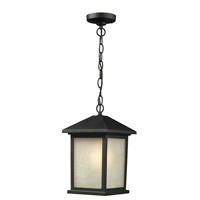 Holbrook 1 Light 10 inch Black Outdoor Chain Mount in White Seeded Glass