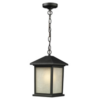 Z-Lite 507CHM-BK Holbrook 1 Light 8 inch Black Outdoor Chain Mount Ceiling Fixture in Tinted Seedy