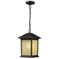 Holbrook 1 Light 8 inch Oil Rubbed Bronze Outdoor Chain Light in Tinted Seedy