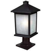 Holbrook 1 Light 20 inch Black Outdoor Post Light in White Seeded Glass