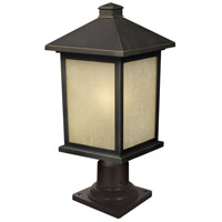 Holbrook 1 Light 20 inch Oil Rubbed Bronze Outdoor Post Light in Tinted Seedy