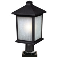 Z-Lite 507PHB-BK-PM Holbrook 1 Light 22 inch Black Outdoor Pier Mounted Fixture in White Seeded Glass