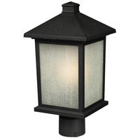 Holbrook 1 Light 22 inch Black Post Light in White Seeded Glass