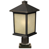Z-Lite 507PHB-ORB-PM Holbrook 1 Light 22 inch Oil Rubbed Bronze Post Mount Light in Olde Rubbed Bronze, White Seeded Glass