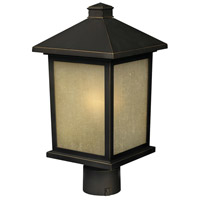 Holbrook 1 Light 22 inch Olde Rubbed Bronze Post Light in White Seeded Glass