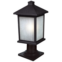 Holbrook 1 Light 18 inch Black Outdoor Pier Mount Light in White Seeded Glass