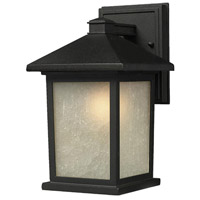 Holbrook 1 Light 11 inch Black Outdoor Wall Sconce in White Seeded Glass