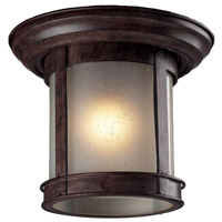 Signature 1 Light 10 inch Weathered Bronze Outdoor Flush Mount