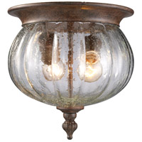 Z-Lite Belmont 2 Light Outdoor Flush Mount Light in Weathered Bronze 516F-WB