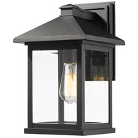 Portland 1 Light 16 inch Black Outdoor Wall Sconce in Clear Beveled Glass