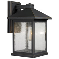 Z-Lite 531B-ORB Portland 1 Light 16 inch Oil Rubbed Bronze Outdoor Wall Sconce in Clear Seedy Glass photo thumbnail