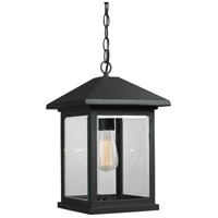 Portland 1 Light 10 inch Black Outdoor Hanging Lantern in Clear Beveled Glass