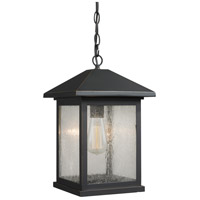 Z-Lite 531CHB-ORB Portland 1 Light 10 inch Oil Rubbed Bronze Outdoor Chain Light in Clear Seedy Glass