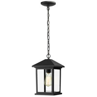 Z-Lite 531CHM-BK Portland 1 Light 8 inch Black Outdoor Chain Light in Clear Beveled Glass