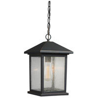 Z-Lite 531CHM-ORB Portland 1 Light 8 inch Oil Rubbed Bronze Outdoor Chain Light in Clear Seedy Glass