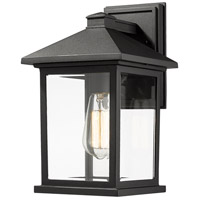 Portland 1 Light 14 inch Black Outdoor Wall Light in Clear Beveled Glass