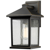 Z-Lite 531M-ORB Portland 1 Light 14 inch Oil Rubbed Bronze Outdoor Wall Sconce in Clear Seedy Glass, 4.24