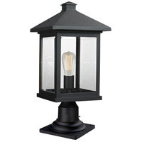 Portland 1 Light 20 inch Black Outdoor Pier Mount Light in Clear Beveled Glass