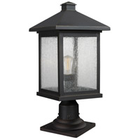 Z-Lite 531PHBR-533PM-ORB Portland 1 Light 20 inch Oil Rubbed Bronze Outdoor Pier Mount in Clear Seedy Glass
