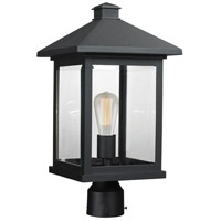 Z-Lite 531PHBR-BK Portland 1 Light 19 inch Black Post Mount Light in Clear Beveled Glass