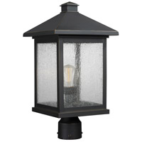 Z-Lite 531PHBR-ORB Portland 1 Light 19 inch Oil Rubbed Bronze Outdoor Post Mount Fixture in Clear Seedy Glass 5.25
