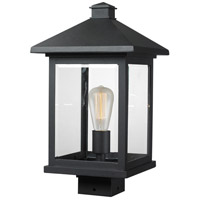 Portland 1 Light 17 inch Black Post Mount Light in Clear Beveled Glass