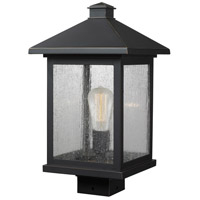 Z-Lite 531PHBS-ORB Portland 1 Light 17 inch Oil Rubbed Bronze Outdoor Post Mount Fixture in Clear Seedy Glass