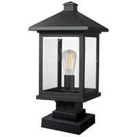Portland 1 Light 20 inch Black Outdoor Pier Mounted Fixture in Clear Beveled Glass