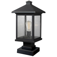 Z-Lite 531PHBS-SQPM-ORB Portland 1 Light 20 inch Oil Rubbed Bronze Outdoor Pier Mounted Fixture in Clear Seedy Glass