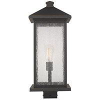 Z-Lite 531PHBXLS-ORB Portland 1 Light 23 inch Oil Rubbed Bronze Outdoor Post Mount Fixture in Clear Seedy Glass 12