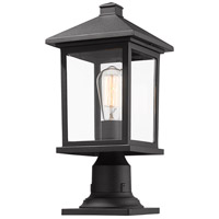 Portland 1 Light 18 inch Black Outdoor Pier Mount in Clear Beveled Glass