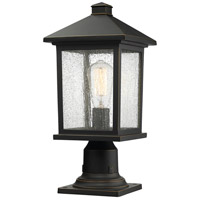 Portland 1 Light 18 inch Oil Rubbed Bronze Outdoor Pier Mount in Clear Seedy Glass