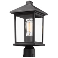 Z-Lite 531PHMR-BK Portland 1 Light 16 inch Black Post Mount Light in Clear Beveled Glass
