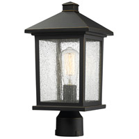 Z-Lite 531PHMR-ORB Portland 1 Light 16 inch Oil Rubbed Bronze Post Mount Light in Clear Seedy Glass