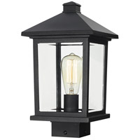 Portland 1 Light 14 inch Black Post Mount Light in Clear Beveled Glass