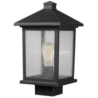 Z-Lite 531PHMS-ORB Portland 1 Light 14 inch Oil Rubbed Bronze Post Mount Light in Clear Seedy Glass