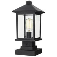 Portland 1 Light 17 inch Black Outdoor Pier Mount in Clear Beveled Glass