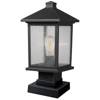 Z-Lite 531PHMS-SQPM-ORB Portland 1 Light 17 inch Oil Rubbed Bronze Outdoor Pier Mounted Fixture in Clear Seedy Glass