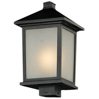 Z-Lite 537PHB-BK Holbrook 1 Light 17 inch Black Outdoor Post Mount Fixture in White Seedy Glass