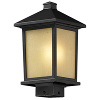 Z-Lite 537PHM-ORB Holbrook 1 Light 14 inch Oil Rubbed Bronze Outdoor Post Mount Fixture in Tinted Seedy Glass