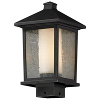 Z-Lite 538PHM-ORB Mesa 1 Light 14 inch Oil Rubbed Bronze Outdoor Post Mount Fixture in Clear Seedy Outside Matte Opal Inside Glass
