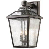 "Z-Lite 539B-ORB Bayland 3 Light 20 inch Oil Rubbed Bronze Outdoor Wall Sconce in 11.64 back plate is 6 "" w x 12 "" H"