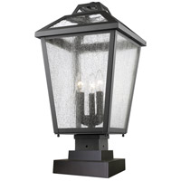 Z-Lite 539PHBS-SQPM-BK Bayland 3 Light 22 inch Black Outdoor Pier Mounted Fixture