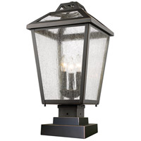 Z-Lite 539PHBS-SQPM-ORB Bayland 3 Light 22 inch Oil Rubbed Bronze Outdoor Pier Mounted Fixture