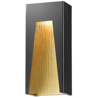 Millenial LED 18 inch Black Gold Outdoor Wall Sconce in Chisel