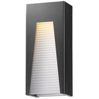 Millenial LED 18 inch Black Silver Outdoor Wall Sconce in Frosted Ribbed